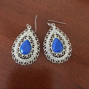 Silver, crystal, and blue stone dangling earrings